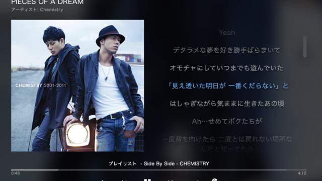 CHEMISTRY(ケミストリー)をAmazon Musicで聴き直しSide By Sideも充実