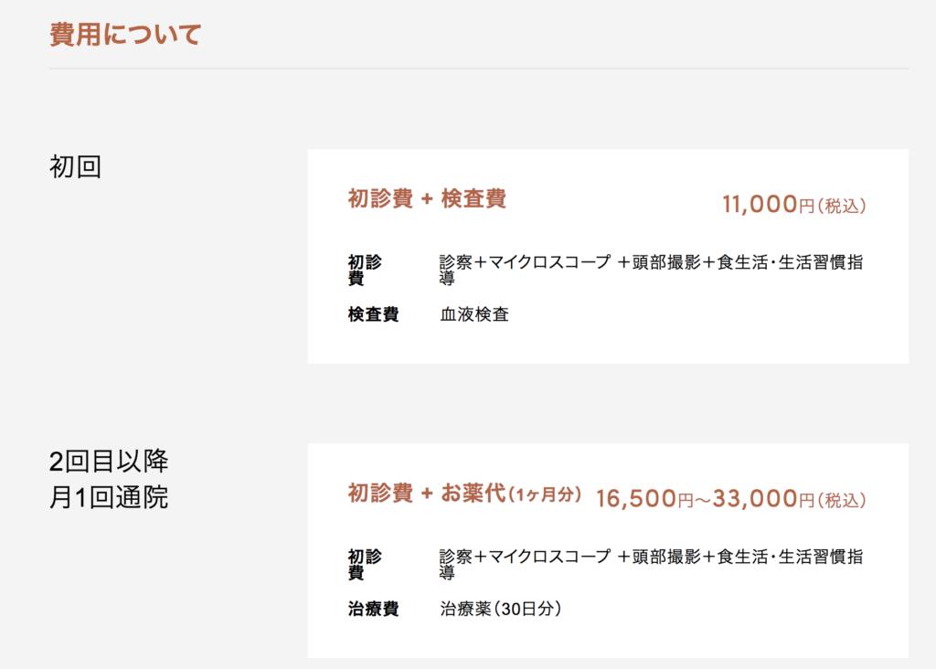 クレアージュ東京のAGA薄毛治療の費用・料金は?